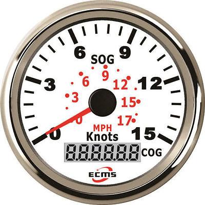 ECMS Marine Car Digital GPS Speedometer Gauge 0-999Knot 52mm 316L Chrome Black