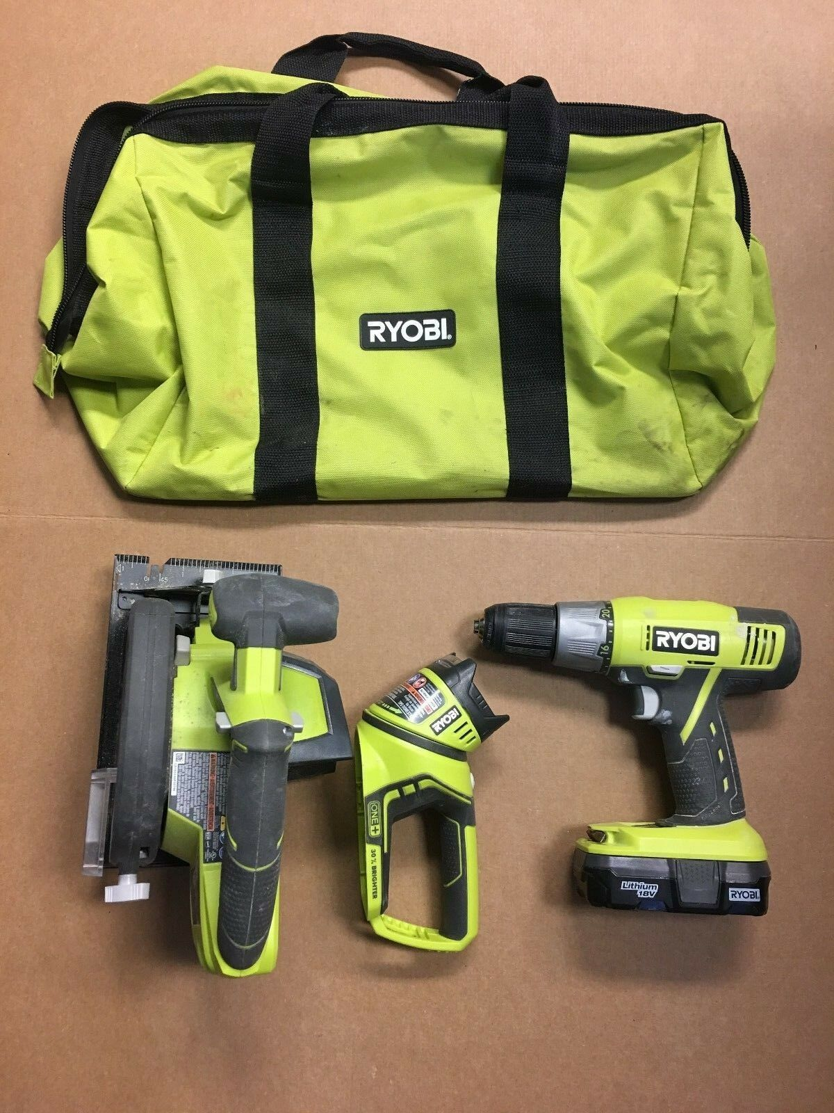 Ryobi  P506 18v Cordless Circular Saw p271 cordless drill driver & P704 light