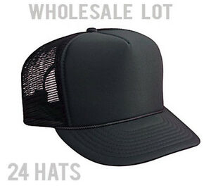 Wholesale Lot - 2 DOZEN Hats - Solid Black Mesh Foam Trucker Hat ... d9795c3f2bc