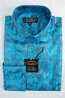 Mens Daniel Ellissa Paisley Satin Jacquard Long Sleeve Dress Shirt Turquoise