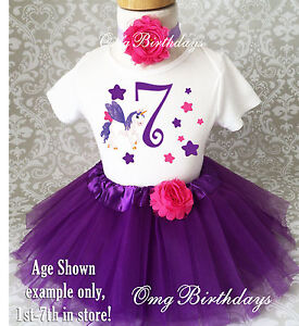 Image Is Loading Purple Pink Unicorn Girl 7th Birthday Tutu Shirt