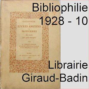 Bibliophilie-Catalogue-10-librairie-Giraud-Badin-1928-livres-anciens-et-modernes