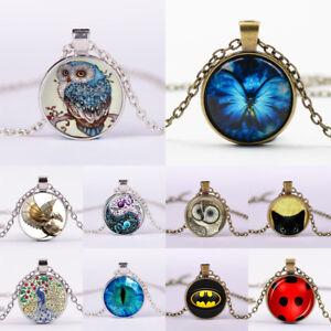 Vintage-Punk-Butterfly-Cabochon-Glass-Silver-Bronze-Chain-Owl-Pendant-Necklace