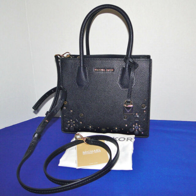 fe1ce959f7d4 Michael Kors Mercer Flower Medium Leather Messenger Bag Admiral Blue Gold