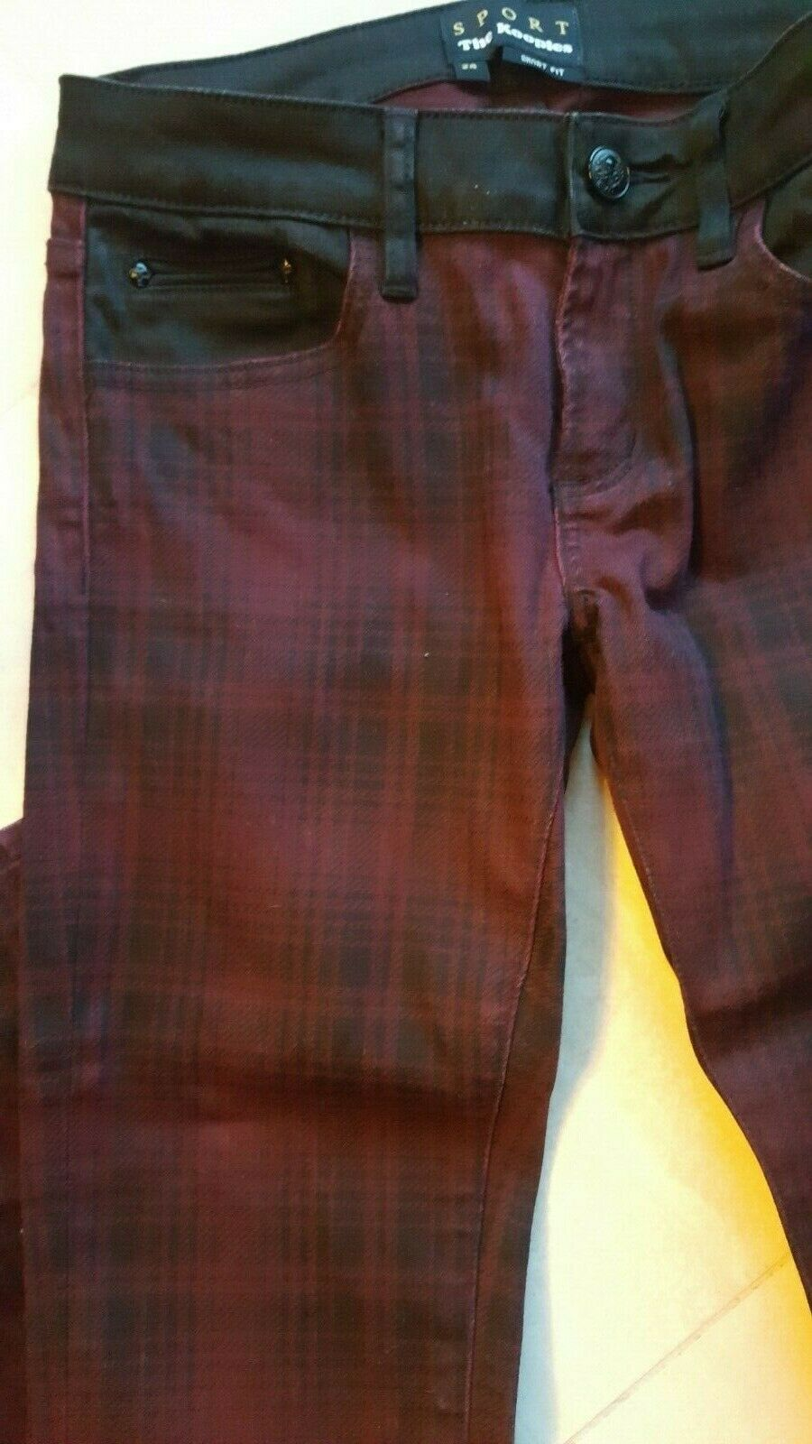 PANTALON SLIM THE KOOPLES BORDEAUX TARTAN Dimensione 24
