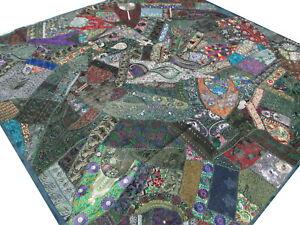 Das Bild Wird Geladen Indische Patchwork Tagesdecke  Bettueberwurf Handarbeit Gruen Quilt Indien