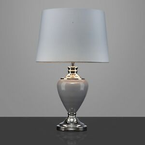 Hepburn Large Ceramic Table Lamp With Matching Shade Modern Grey