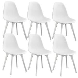 Details Zu En Casa 6x Design Stuhle Weiss Esszimmer Stuhl Kunststoff Skandinavisch Set