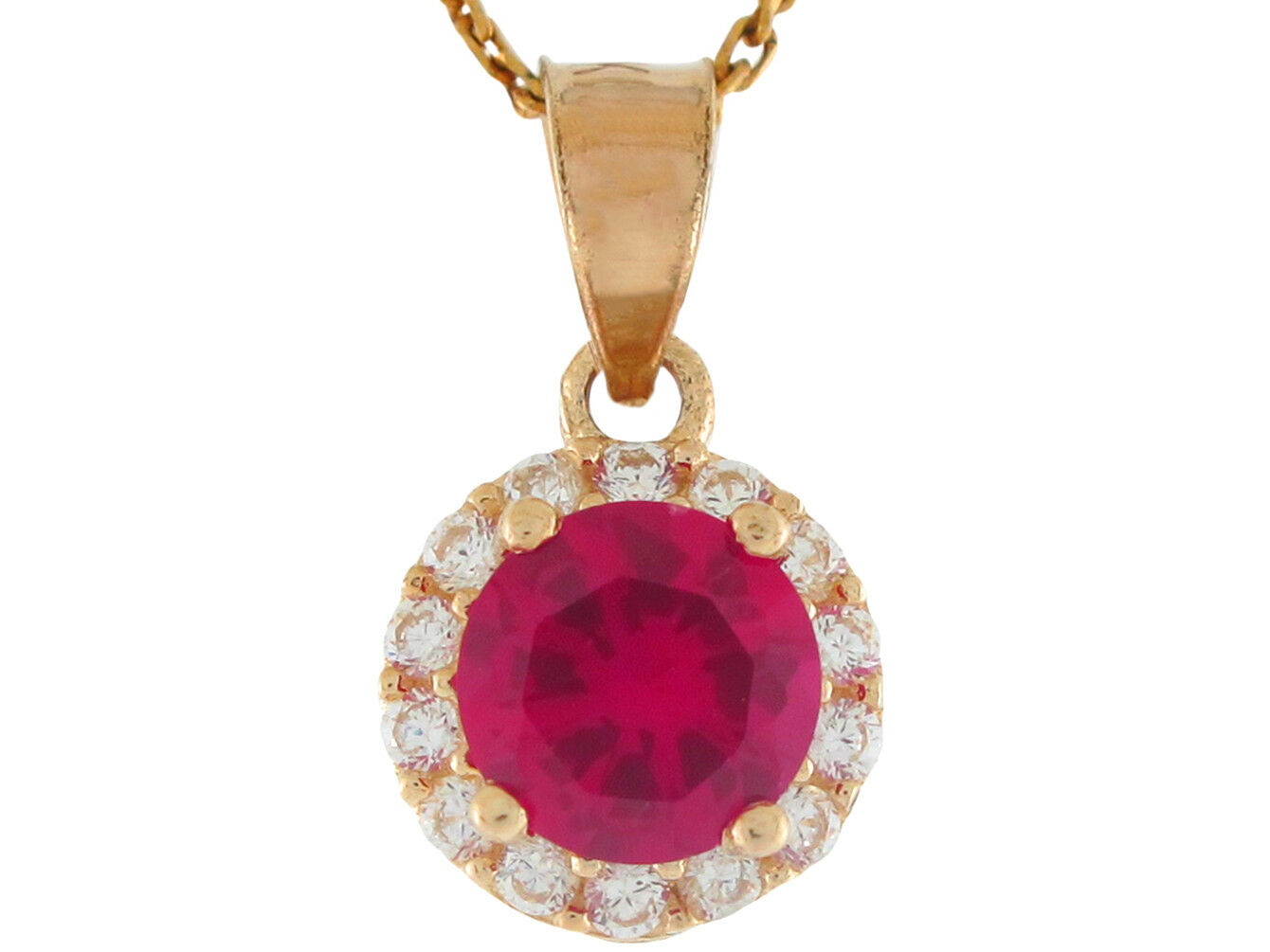 10k or 14k Real gold Round Simulated Ruby CZ Halo Ladies July Birthstone Pendant