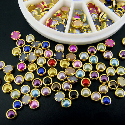 Mixed Color Metal Acrylic Rhinestone Pearl Beads Nail Art Decoration Wheel