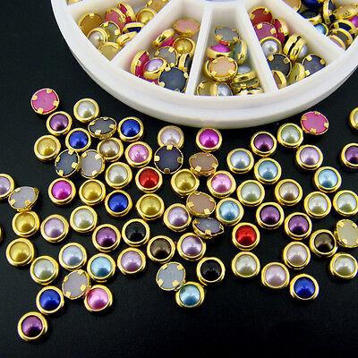 Pretty 5mm Acrylic Rhinestone Pearl Beads 12 Grids Nail Art Decorations Wheel