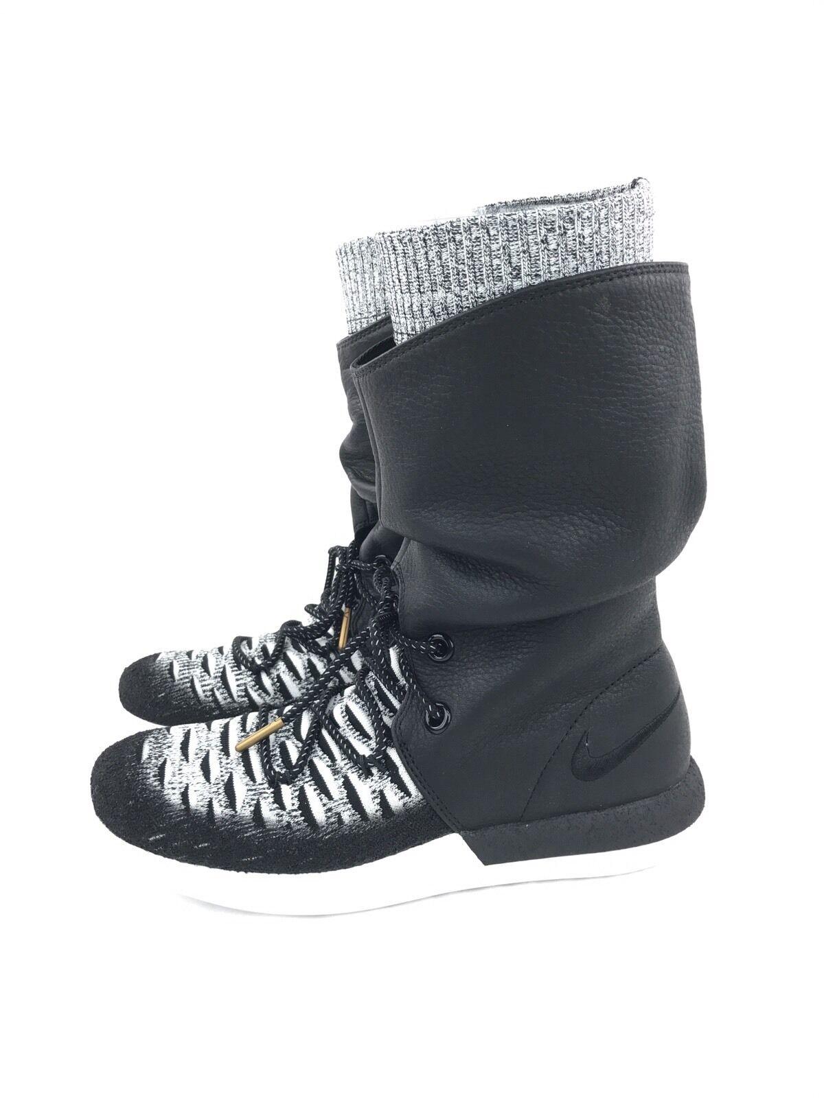 Womens Nike Roshe Two Hi Flyknit 2 Hi Top Black Women Boots 861708-002 S 7 NEW