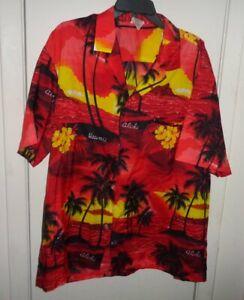 XL-Mens-Royal-Creations-Hawaii-Hawaiian-Shirt-Red-Island-Silhouette-Aloha-Button