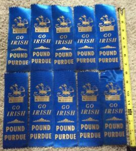 VINTAGE-NOTRE-DAME-THE-FIGHTING-IRISH-GO-IRISH-POUND-PURDUE-RIBBONS-10-TOTAL