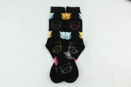 4 Pairs//No Box Colorful Cat Head Skateboard Socks Cotton Absorbent Elastic Sock