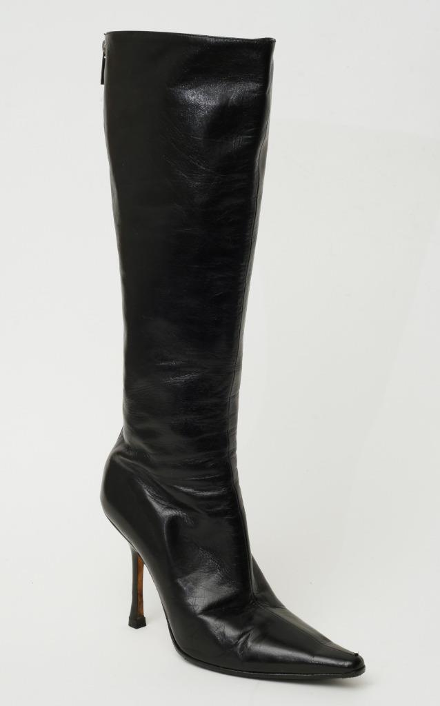 Jimmy Choo Schwarz Leder Wies-Zehe Stiefel Stiletto Zip-Up Wadenhoch 6.5-36.5