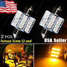 2X Amber Yellow Festoon 31mm 12-SMD Dome Door License Interior Light DE3175 3022