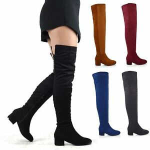 521ff834bb2 Womens Over The Knee Boots Low Heel Ladies Zip Casual Riding Thigh ...