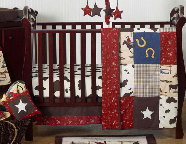 Perless Unique Designer Horse Western Themed Cowboy Baby Boy Crib Bedding Set