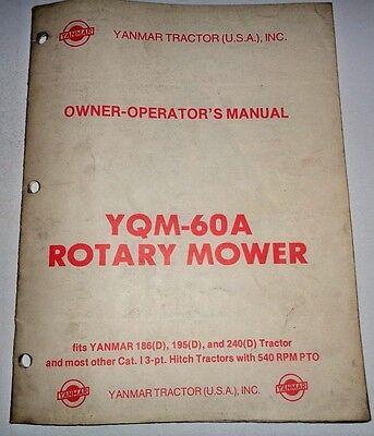 Yanmar YQM-60A Rotary Mower Operators / Parts Manual Catalog