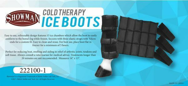 Showman COLD THERAPY re-freezable ICE BOOT for Swollen Sore Horse Legs 14 x13