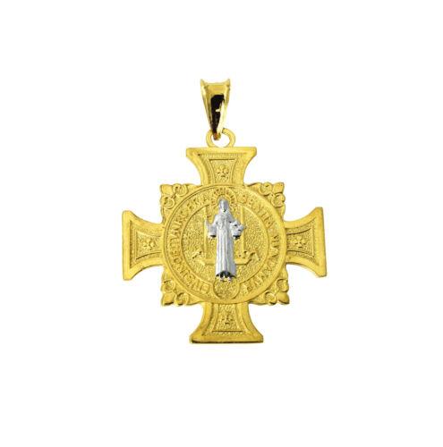 14K Solid Yellow Gold Cross Saint Benedict Religious Charm Pendant San Benito