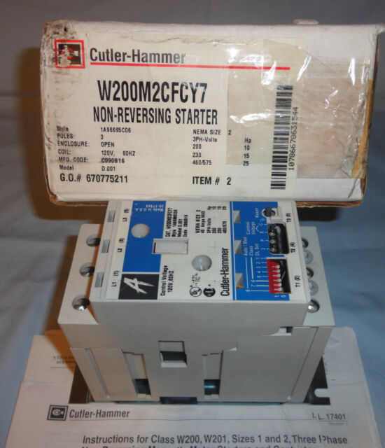 Cutler Hammer W200m2cfcy7 Electric Motor Starter Size 2 Contactor 1a96695c06 New