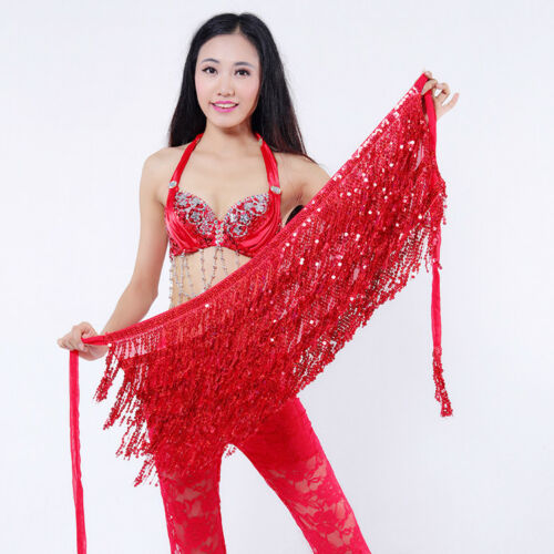 Sequins Hip Scarf Belly Dance Dancer Costume Tassel Fringe Belt Waist Wrap Skirt