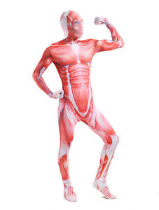 Halloween Costume Skeleton Muscle Attack On Titan Lycra Spandex