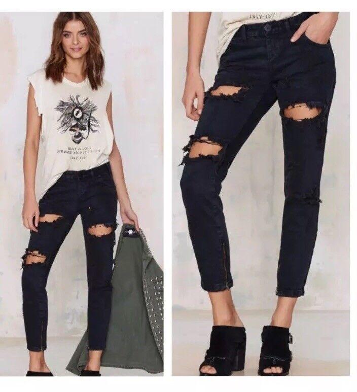 EUC One Teaspoon Freebirds Low Rise Skinny Distressed Jeans Size 25