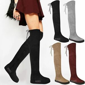 Womens Ladies Over The Knee Flat Thigh High Boots Low Heel Lace Up ...