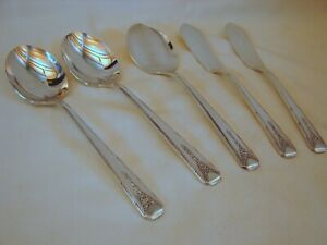 5-pcs-Oneida-Community-Silver-Milady-Srving-2-Sugar-2-Butter-Jelly-Excellent