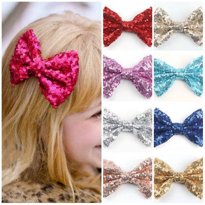 1PC Lace Glitter Sequin Bowknot Crown Hair Pin Bow Clip Girls Hair Accessories