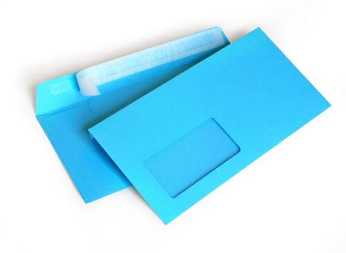 Briefumschlag mit Fenster hellblau DIN lang 114x229mm 120g//m² haftklebend 209AF