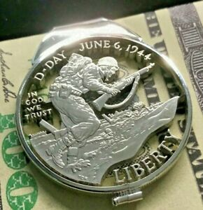 D-Day-USA-Silver-Dollar-Cut-Coin-Sterling-Money-Clip-WWII-Normandy-1944-Landing
