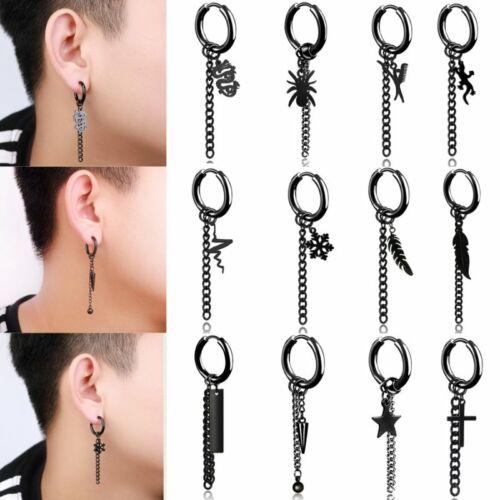 1PC Punk Black Titanium Steel Stud Earrings Gothic Street Hip Hop Ear Jewellery