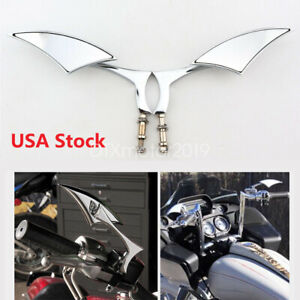 Chrome Motorcycle Mirrors For Harley Davidson Fatboy Heritage Softail Classic Us Ebay