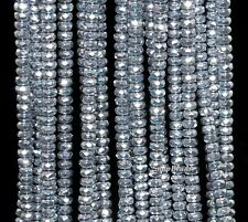 """4MM SILVER HEMATITE GEMSTONE SILVER FACETED RONDELLE 4X2MM LOOSE BEADS 15.5"""""""