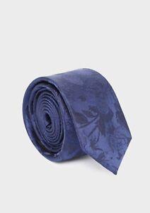 FATHER & SONS Cravate fine en soie à motif fleuri bleu indigo *NEUF*