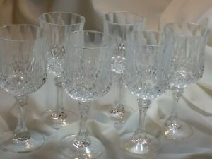 Crystal-Wine-Glass-Goblets-Stemware-Clear-Longchamp-Cristal-D-Arque-Set-of-6