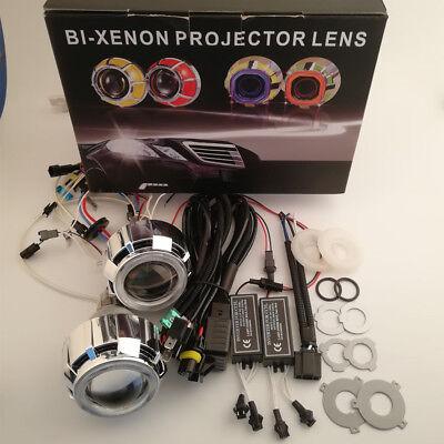 Color : Blue Angel Eyes HXFANG/® 2,5 Pouces Bi Xenon Projecteur LED DRL Objectif avec Angel Eyes Haubans Assembl/ée Car Kit Fit for H1 H4 H7 Xenon mod/èle de Voiture Livraison Gratuite