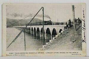 Harrisburg-Pa-First-Train-Crossing-Rockville-Stone-Bridge-1905-Postcard-N5