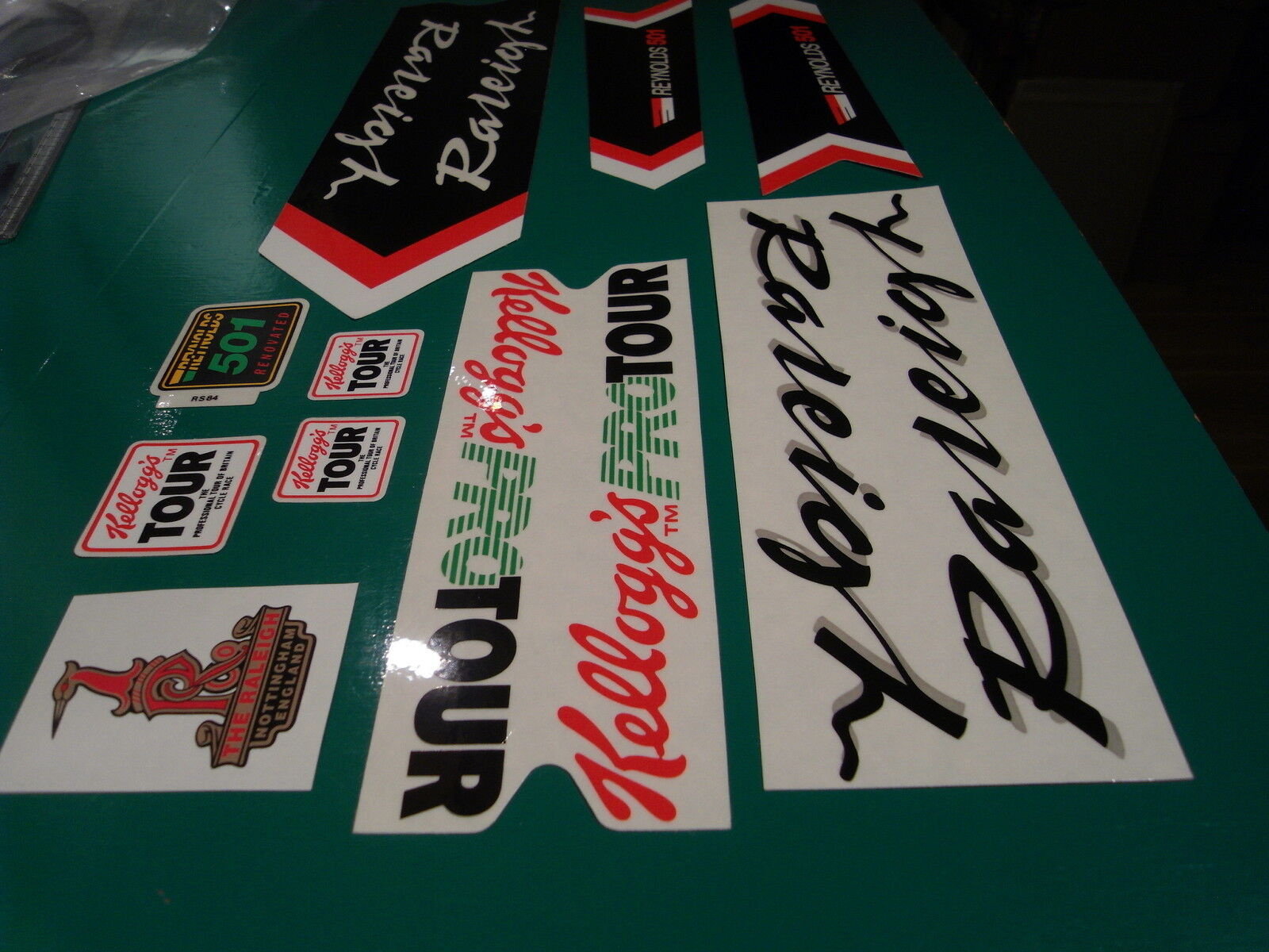 Raleigh Kelloggs team set. The works with 10 decals. decals. decals. Mostly NOS. Limited avail. c18597