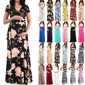 Pregnant-Womens-Maxi-Dress-Floral-Pirnt-Wrap-V-Neck-Maternity-Nursing-Party-Gown