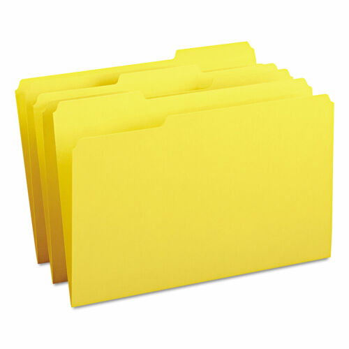 Yellow 100//Box 1//3-Cut Tabs Colored File Folders Legal Size
