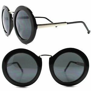 20cb91b3f8 Image is loading Stylish-Vintage-Thick-Black -Frame-Womens-Designer-Oversized-