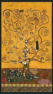 Robert Kaufman Digitally Printed Fabric Panel Gustav Klimt Gilded Tree Gold