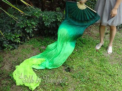 "1pair sturdy Emerald Green 2.4*0.9m(94""x35"") belly dance silk fan streamers+bag"