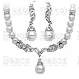 PEARL-CRYSTAL-NECKLACE-EARRINGS-SET-silver-rhinestone-pearls-classic-bridal-UK