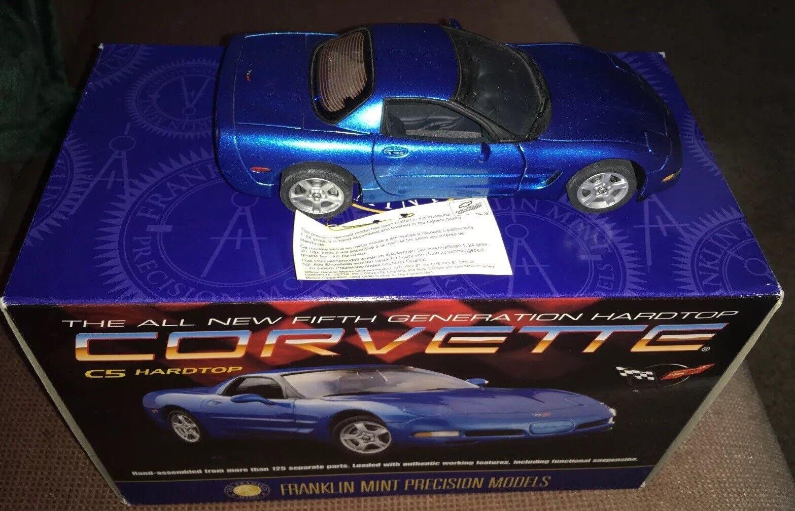 Franklin Mint 1999 Chevrolet Corvette Hardtop 1 24 Die Cast Metal Box & COA MIB